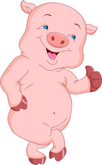 cute pig cartoon thumb up
