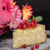 Pudding cheese and red currant