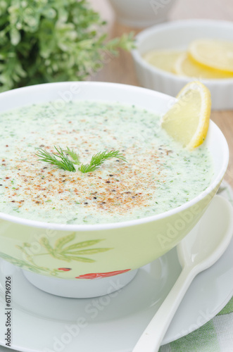 cold soup with kefir and fresh herbs closeup selective focus