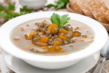 vegetable soup with lentils, close-up