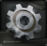 Grey gear on metal background, mechanical vector illustration