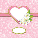 Pink Paisley Design template or artwork.Spring background