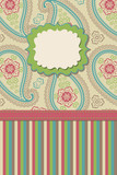 Vintage Paisley and strips.Design template or artwork
