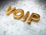 SEO web design concept: Golden VOIP on digital background