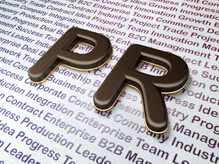 Marketing concept: PR on Business background