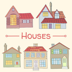 Hand drawn houses homes