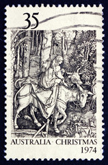 Postage stamp Australia 1974 Flight into Egypt, by Albrecht Dure