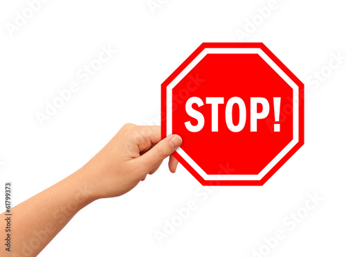 Hand with stop illustrated sign
