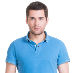 Portrait of handsome man in in blue shirt.