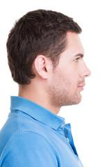 Closeup profile portrait of  handsome man.
