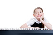 Happy schoolgirl with electric piano.