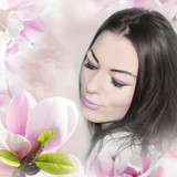 young woman portrait with closed eyes on the spring background