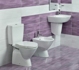detail of modern bathroom with sink, toilet and bidet