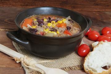 Traditional Hungarian hot goulash soup