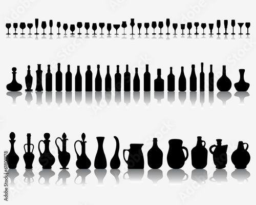 Silhouettes and shadows of wine glasses and bottles, vector