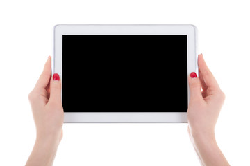modern tablet pc with empty screen in female hands isolated on w