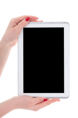 modern tablet pc with empty copyspace screen in female hands iso