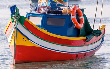 Colored Fishing boats in  Marsaxlokk harbor, Malta