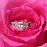Engagement rings in pink rose. Closeup