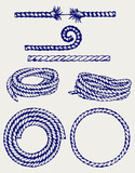 Nautical rope knots. Doodle style