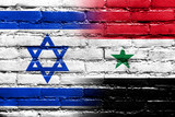 Israel and Syria Flag painted on brick wall