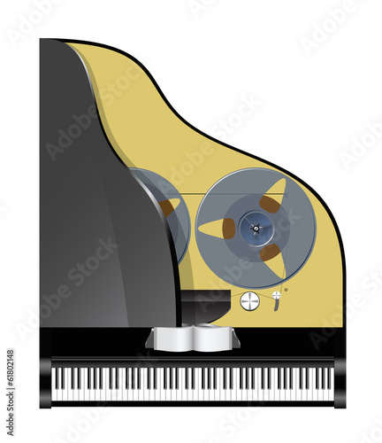 Piano with recorder.