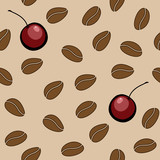 Vector seamless pattern with coffee beans and cherry
