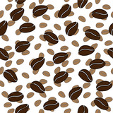 white and brown coffee bean seamless vector pattern
