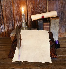 Work desk with parchment.
