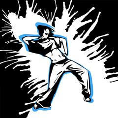 Hand drawn vector girl street dancer on grunge background