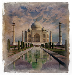 Taj Mahal in Agra,  India .Vintage effect.
