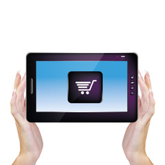 Digital Tablet in woman Hands.E-commerce.Internet