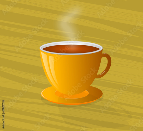 Steaming Hot Coffee in a Yellow Cup