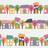 Cute Houses Trees Vector Icon Seamless Pattern