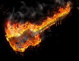 Burning melting guitar