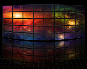 Galaxies and stars on screens in dark space