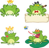 Happy Frogs Cartoon Characters 1. Set Collection