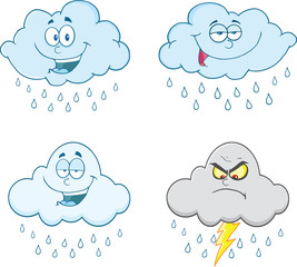 Raining Clouds Cartoon Characters. Set Collection