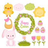 Happy Easter set with cartoon cute bunny, chicken