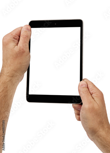 Holding Digital Tablet Computer With Copy Space