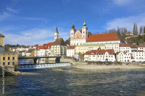 Mouth of the Steyr in the Enns River in the town Steyr