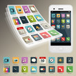 Set of Vector Application Web Icons and logos on phone