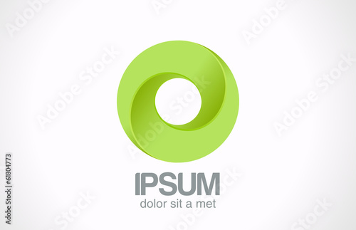 Logo Infinity Green loop Circle abstract vector icon