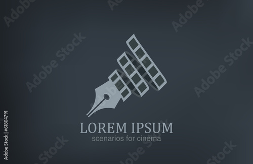 Logo Scenarios for cinema vector icon design