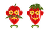 Healthy eating. Funny men's faces made of vegetables and fruits