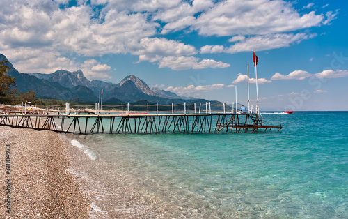 Shoreline and sea view in Kemer, Turkey.