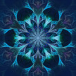 Beautiful fractal flower in blue and black. Computer generated g