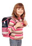 little girl with school bag