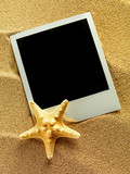 Vintage empty photo frames are lying on the sea sand decorated w