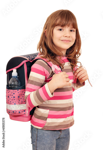 canvas print picture little girl with school bag